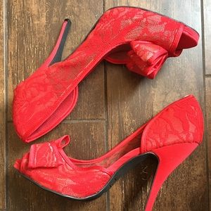 Red, lace heels, size 10